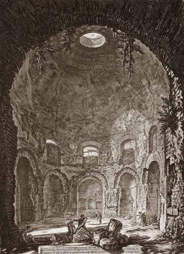 Veduta Interna del Tempio della Tosse, incisione di G. B. Piranesi